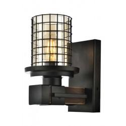 AVONNI AP-60002-1E Eskitme Kaplama Aplik E27 Metal Ahşap Cam 15x20cm