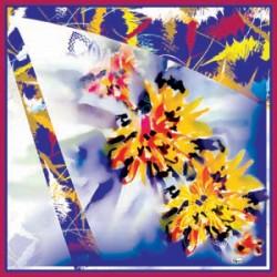 Lacivert Sarı Tonları Modern Karışık Desenli Eşarp