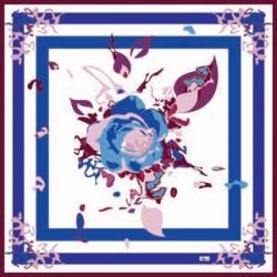 Mavi Krem Tonları Güllü Modern Karışık Desenli Eşarp