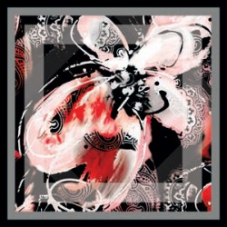 Gri Tonları Modern Kelebek Desenli Eşarp