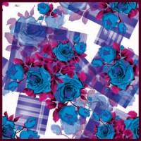 Mavi Pembe Tonları Modern Karışık Desenli Eşarp
