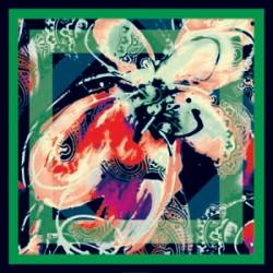 Turuncu Pembe Tonları Modern Karışık Desenli Eşarp