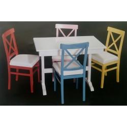 T Ayaklı Masa 4'lü Çapraz Sandalye Takımı MOD-OA-A13